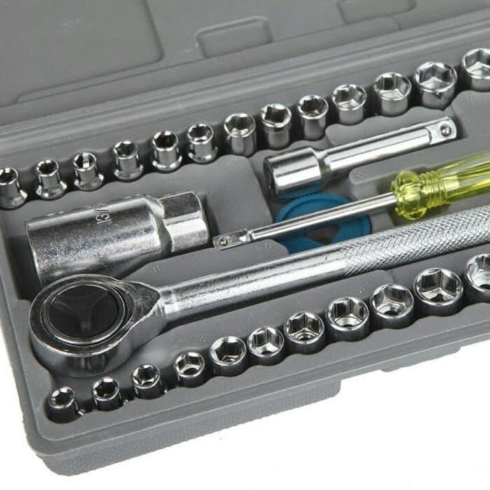 Foto Produk Kunci Sok Shock 40 Pcs Multipurpose Combination Socket Wrench Set dari Pooh Shop Grosir