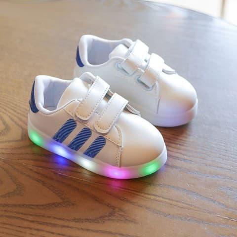72c06d5e5b4 harga Sepatu anak led adidas stripe- blue no. 21-30 Tokopedia.