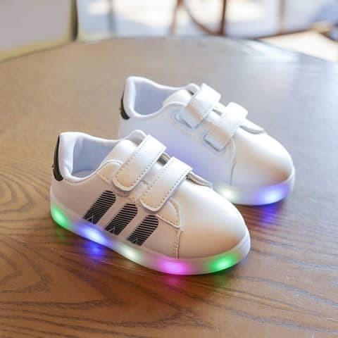 Jual Sepatu anak LED adidas stripe- black no. 21-30 - Famous ... e486f8cb69