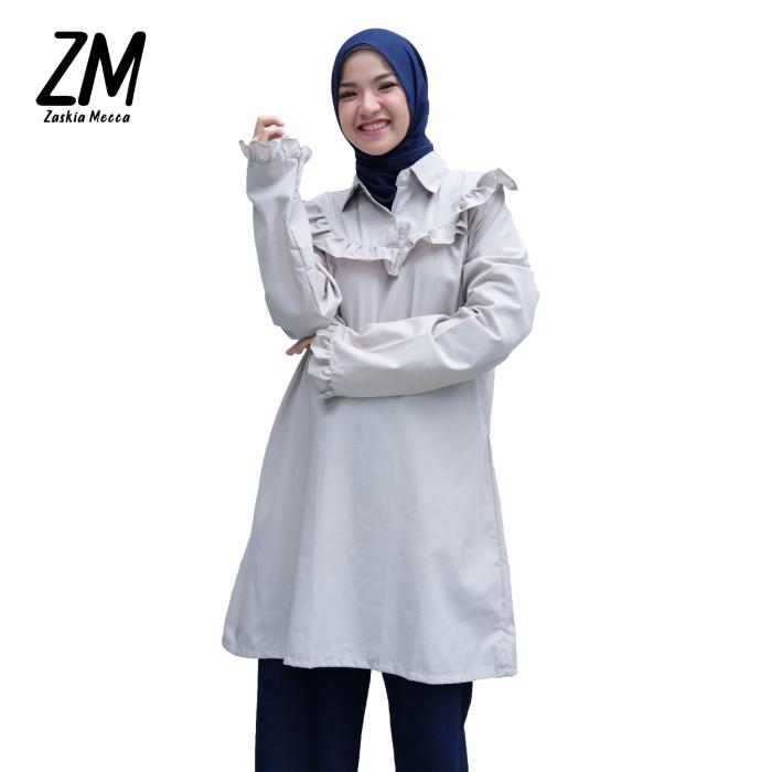 zaskia mecca - mueil grey blouse - abu-abu muda xl