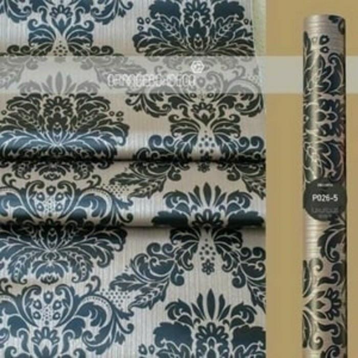 Foto Produk damask vintage black on brown 45cm x 10mtr || Wallpaper dinding dari dedengkot wallpaper