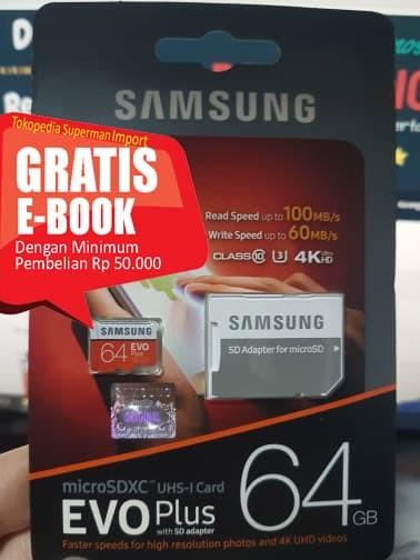 harga Samsung microsdxc evo plus class 10 uhs-1 (80mb/s) 64gb Tokopedia.com