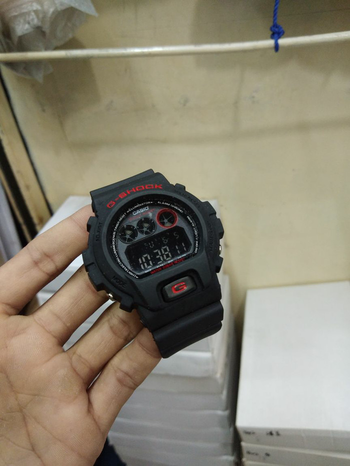 gshock digital hitam list merah