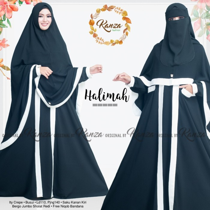 Jual Halimah Syari Setelan Gamis Cadar Bandana Niqab Polos Ori Hitam
