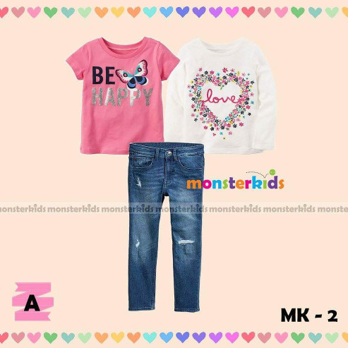 harga Be Happy Set. Baju Setelan Anak Cewe Mk 3in1 Jeans Panjang Tokopedia.com