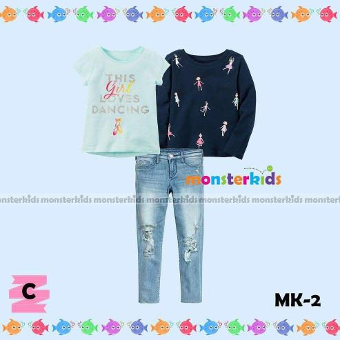 harga Love Dancing Set. Baju Setelan Anak Cewe Mk 3in1 Jeans Panjang Tokopedia.com