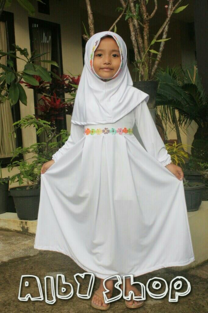 Jual Baju Muslim Gamis Anak Perempuan Simple Dan Cantik Warna Putih