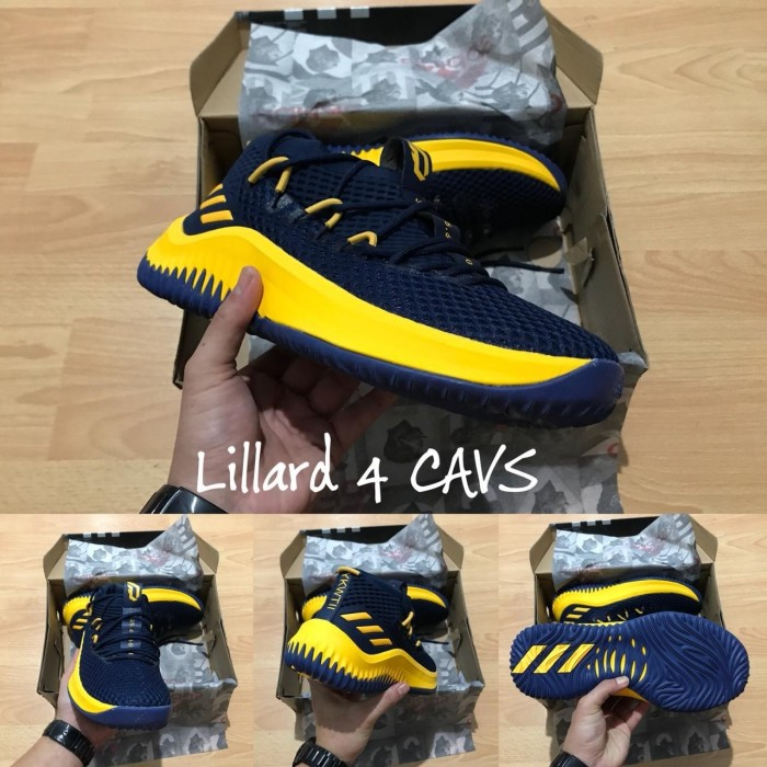timeless design ed9e7 d511d Sepatu Basket Adidas Dame 4 Cavs Navy Blue Yellow Biru Dongker Kuning