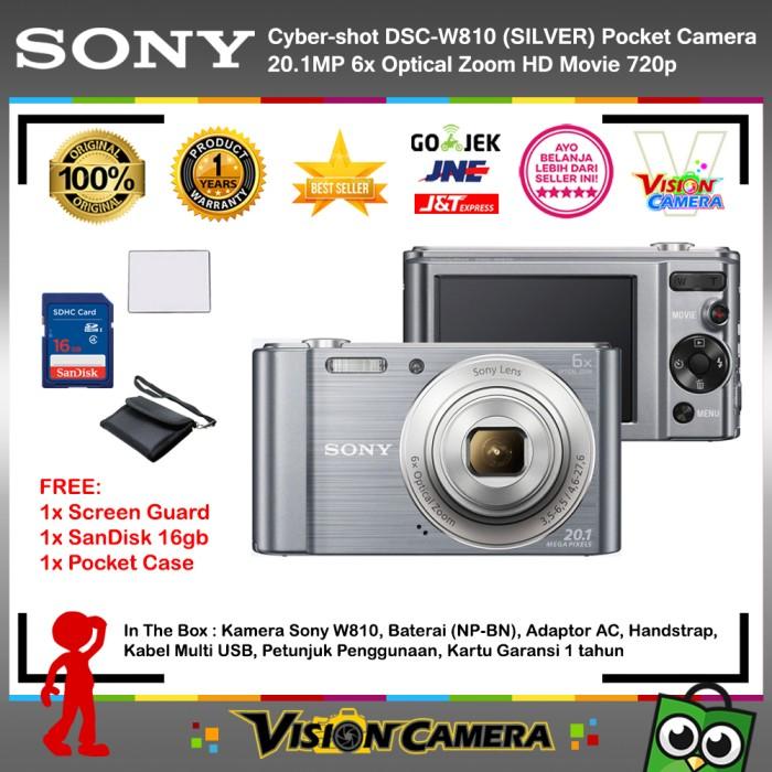 harga Sony cyber-shot dsc w810 silver + screenguard + sandisk 16gb + pouch Tokopedia.com