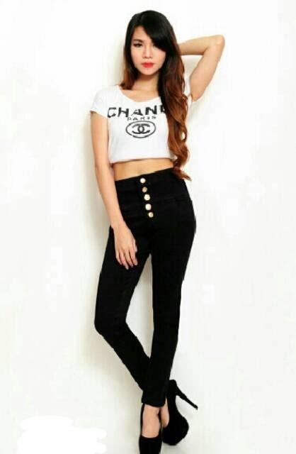 Jual Celana Wanita Celana Highwaist Jeans Kancing 5 Celana Jeans
