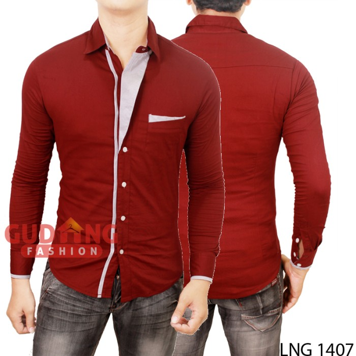 Kemeja korea casual stylish lng 1407 - maroon l