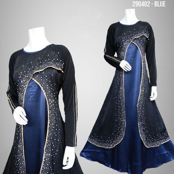 Jual Baju Panjang Hitam Biru Longdress Biru Gaun Pesta Biru Gaun