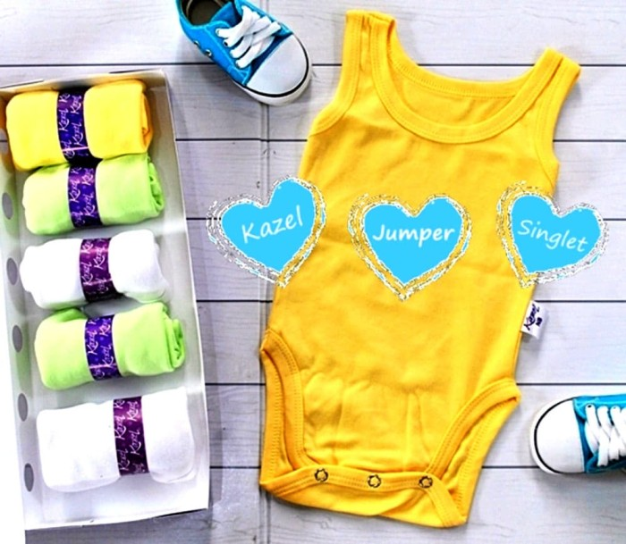 Kazel Singlet Jumper-baju bayi s.d batita ( Isi 6 Pc ) Motif Polos- XL