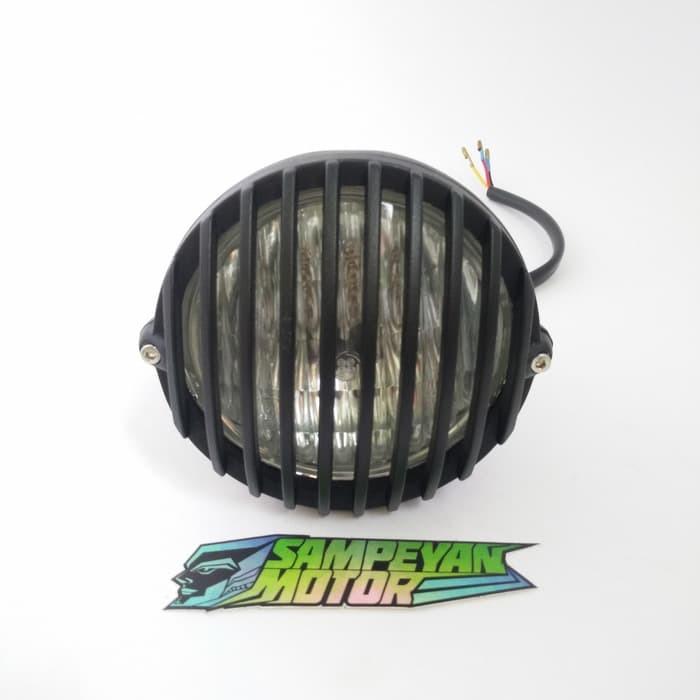 harga Headlamp cb batok lampu dan reflektor teralis hitam japstyle cafe race Tokopedia.com