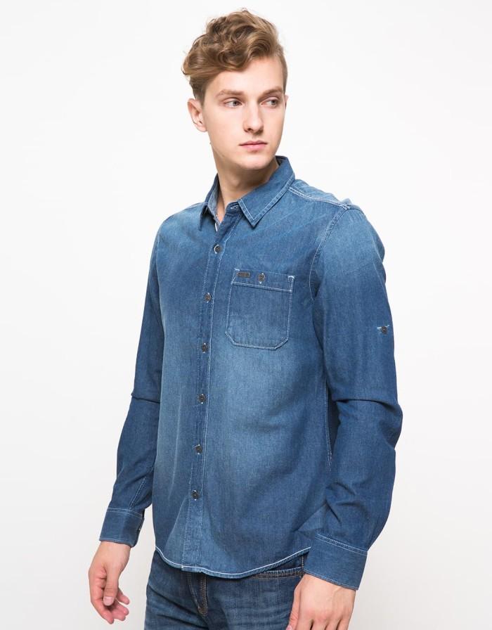 ... harga Cardinal jeans original - kemeja denim slim fit lengan panjang  biru Tokopedia.com 8524570523
