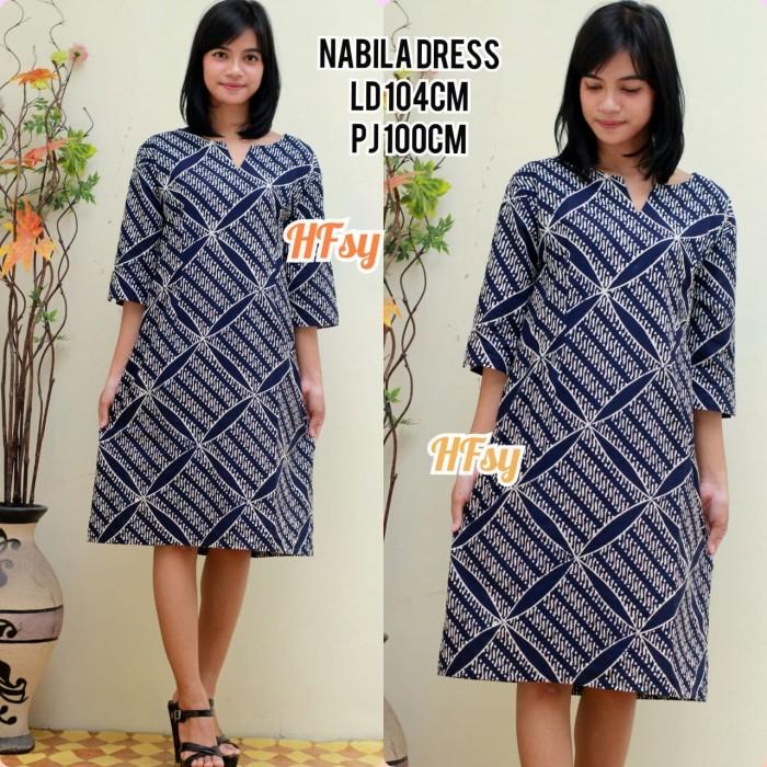 Dress  Nabila, baju batik wanita ,setelan kerja modern