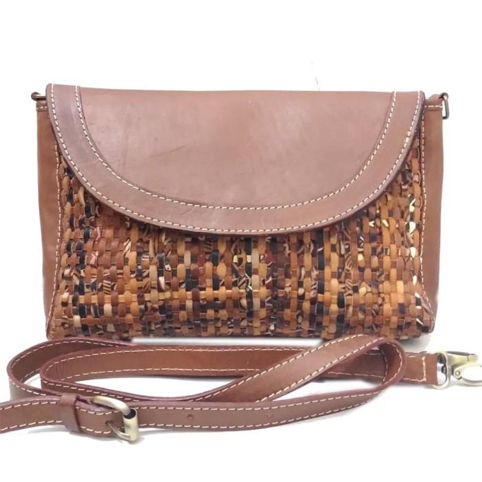 Tas Kulit Asli - Tas Kulit Wanita - sling bag clucth anyam - abstrak ccceba4d5b
