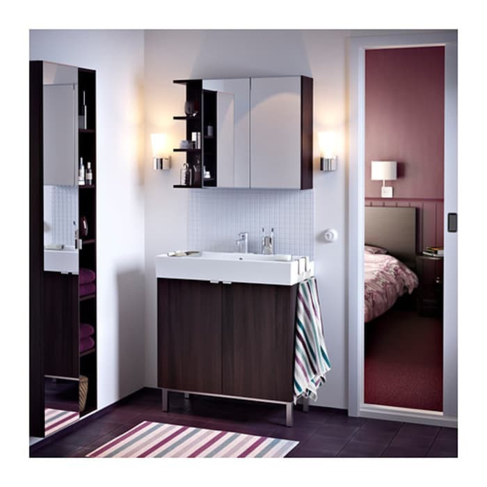 Terbaru Ikea Lillangen Kabinet Lemari Cermin Dinding 2 Pintu Hitam