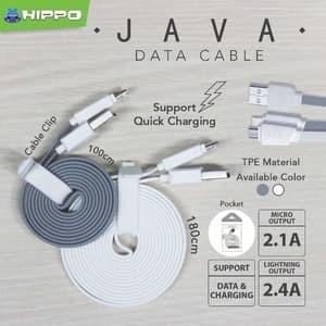 hippo java micro usb kabel data & charger 100cm - abu -abu tua