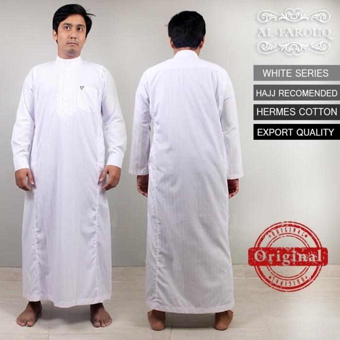 Jual Baju Koko Gamis Jubah Pria Lengan Panjang Putih Bordir Al
