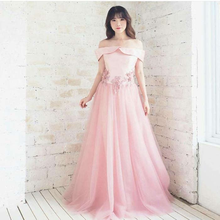 Jual Gaun Panjang Pesta Dress Pink Tile Satin Brokat Import Impor