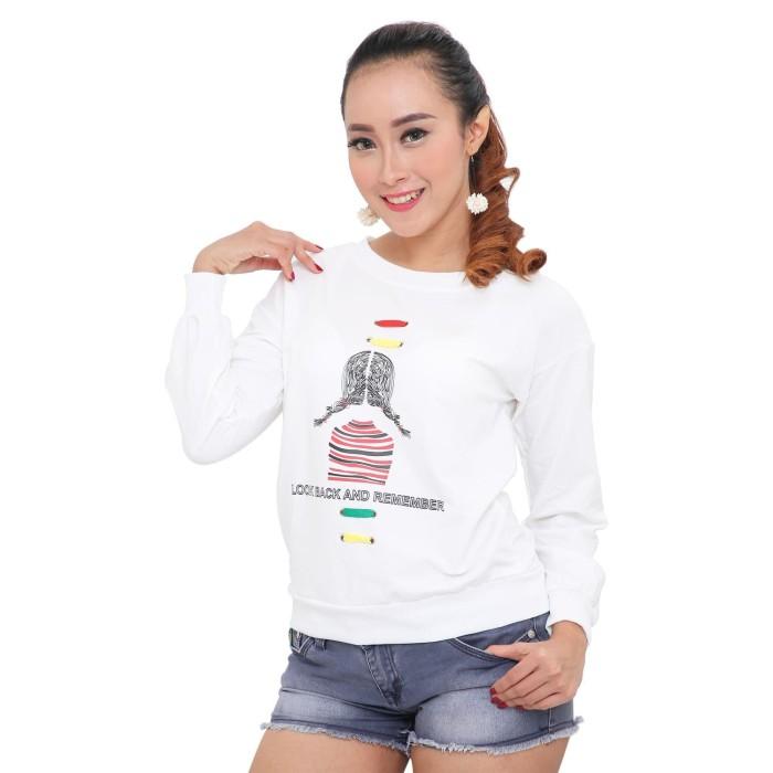 harga Lemone tumblr tee/kaos cewe premium/sweater wanita look back - putih Tokopedia.com