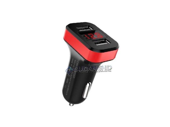 harga 2 in 1 car charger digital voltmeter led display dual usb 2.1a cek aki Tokopedia.com