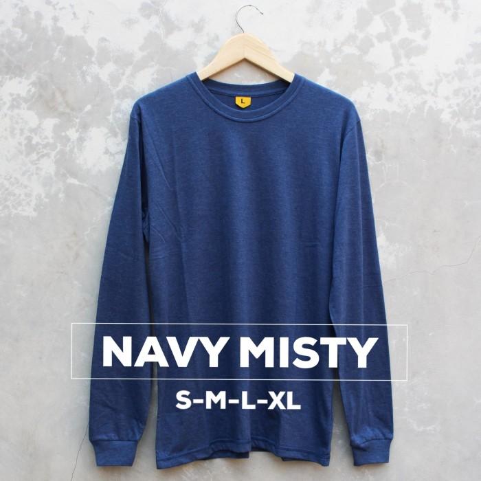 harga Kaos baju polos tangan panjang pria wanita cewe cowo navy misty Tokopedia.com