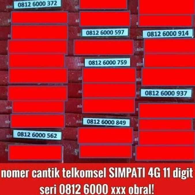 Kartu Perdana Telkomsel Simpati 11 Digit 4G Lte Nomor Cantik Langka