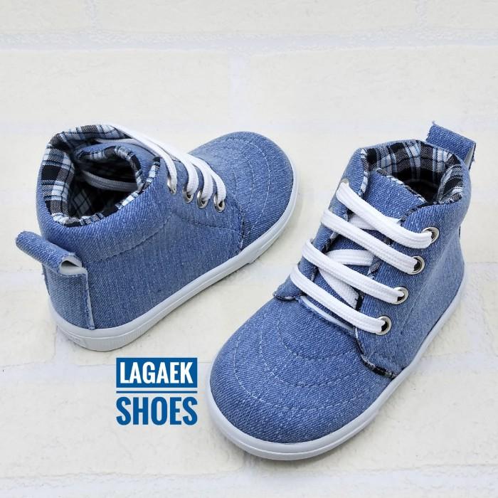 harga Sepatu anak 2-5 tahun semi boots jeans biru kotak tali keren sku-wujb Tokopedia.com