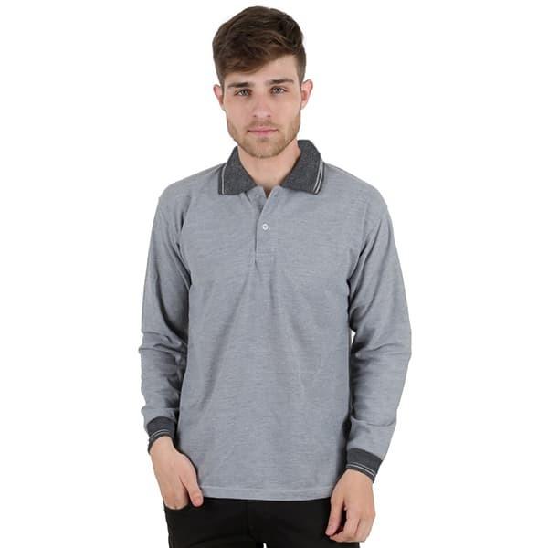 Baju kaos kerah polo shirt pria panjang abu muda