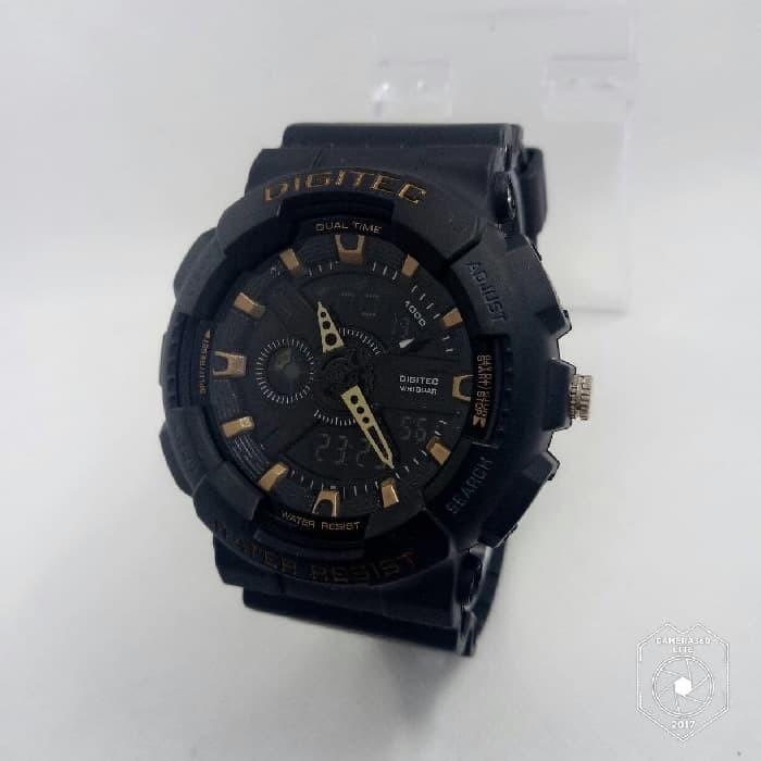Jam Tangan Digitec DG 2020T Black Gold Jam Original Dualtime Murah Oke