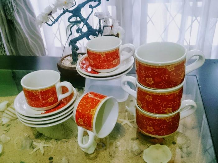 Cangkir Teh & Kopi/ Tea Cup Set Motif Batik Aruna Merah (SNI)