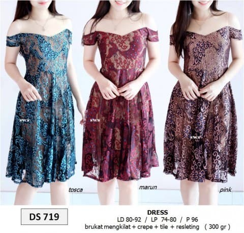 harga Seds719 dress pesta midi sabrina flare lace glitter brukat import Tokopedia.com