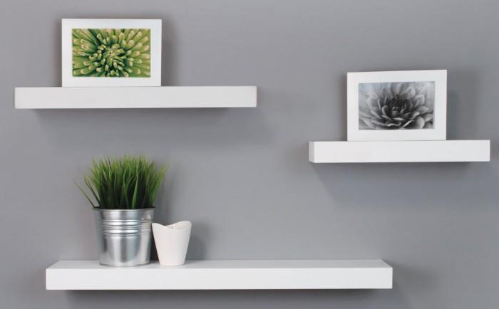 Rak Dinding Minimalis Bunga Buku Hiasan Unik Putih