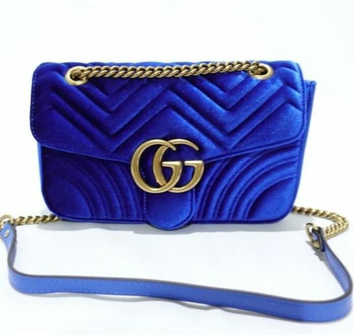 993bbeb16fea Jual TAS GUCCI GG MARMONT VELVET BLUE MIRROR QUALITY S ...
