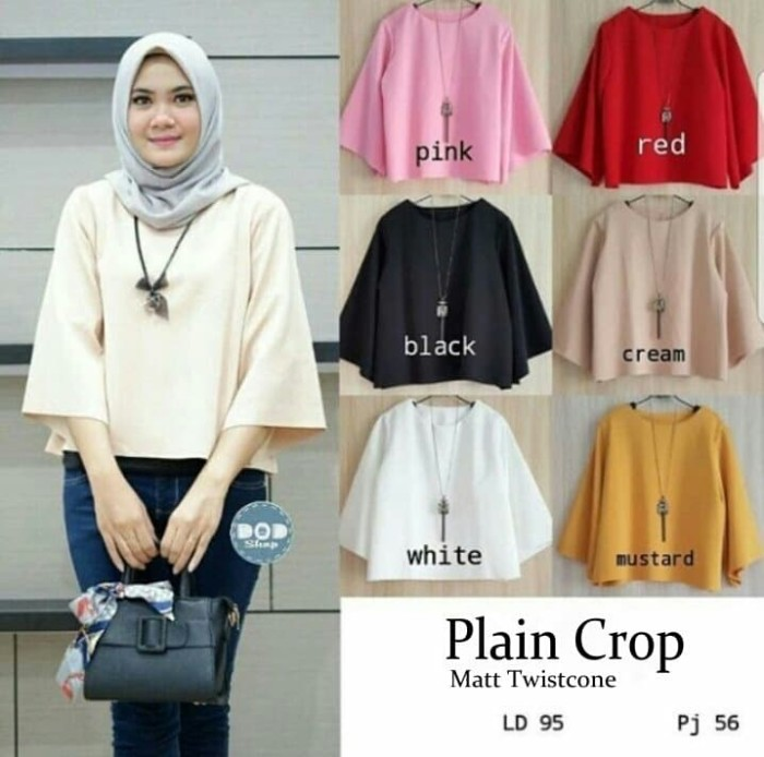 harga Baju atasan wanita blouse wanita blus muslim plain crop tasof Tokopedia.com