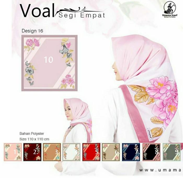 Segiempat voal bunga.jilbab umama.kerudung segi4 motif. hijab square