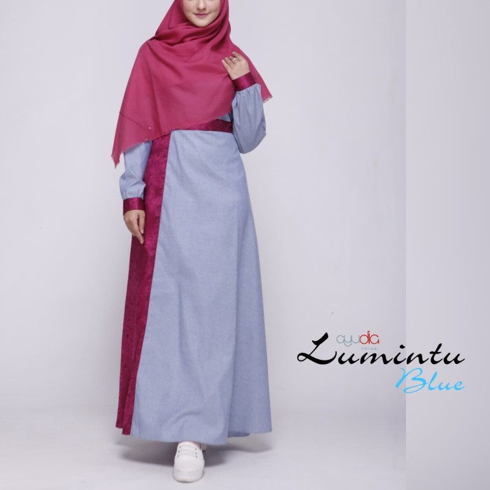 LUMINTU BLUE DRESS BY AYUDIA INDONESIA GAMIS BAHAN DENIM OXFORD JAGUAR - Biru Muda, L