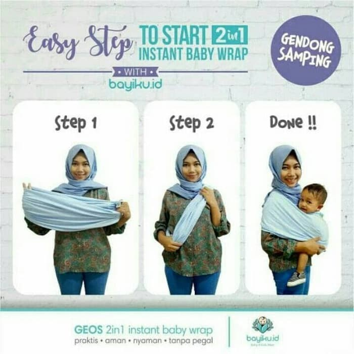 Jual Geos Gendongan Kaos Bayiku Id 2in1 Instant Baby Wrap M