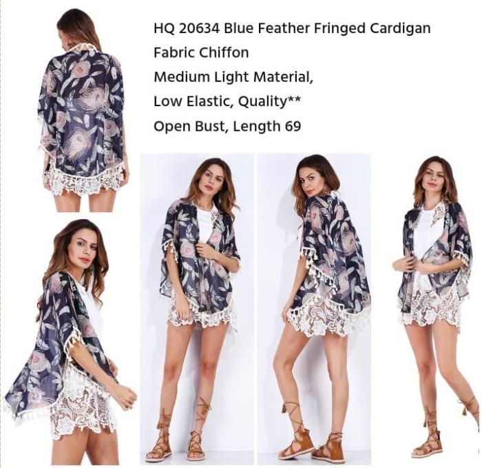 Blue Feather Fringed Cardigan