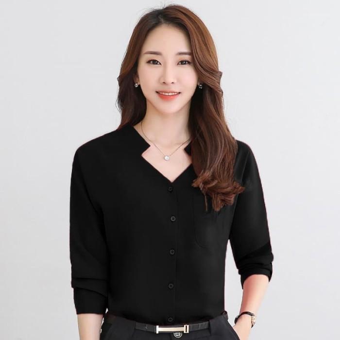 Okechuku Keinara Kemeja Wanita Korean Style Pakaian Kerja Model Korea -  Merah d92b766751
