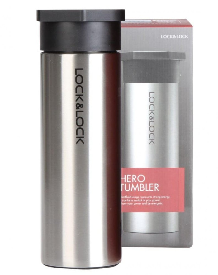 lock & lock hot & cool hero tumbler black 350ml (lhc4111b) - perak