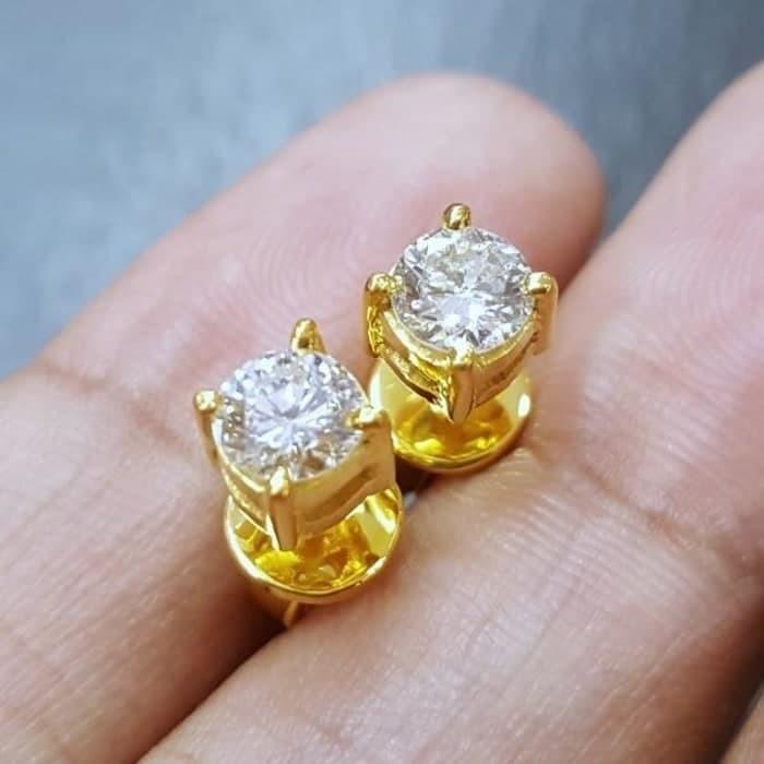 Anting Solitaire Besar Mewah Gold Emas Natural Diamond Berlian Murah