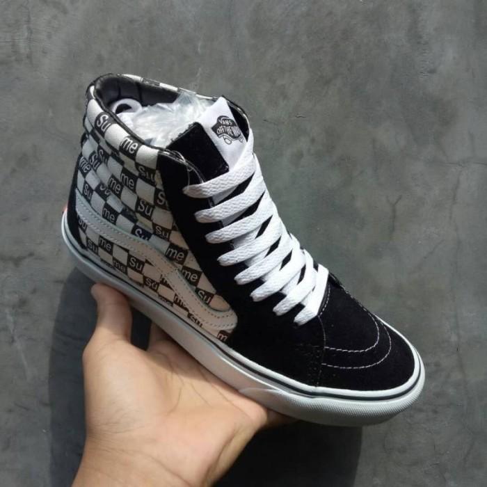 Sepatu Vans SK8 HI Supreme Checkerboard Black White waffle DT BNIB