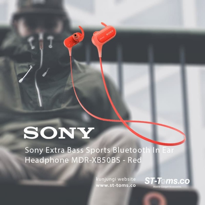 harga Sony mdr xb50bs / xb50bs bass sports bluetooth in ear headphone merah Tokopedia.com