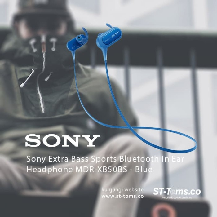 harga Sony mdr xb50bs / xb50bs bass sports bluetooth in ear headphone biru Tokopedia.com