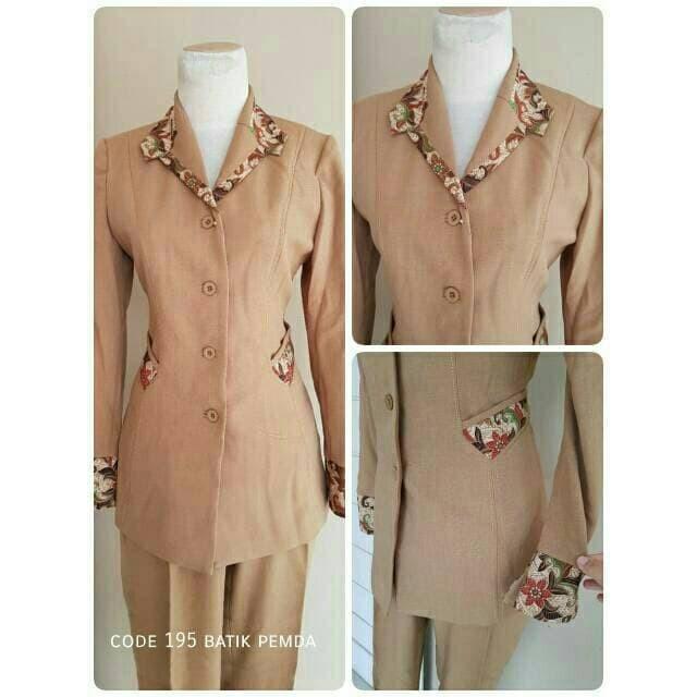 Jual Hot Baju Blazer Pemda Kombinasi Motif Batik Code 195 Modern Murah Kota Tangerang Nauracolection1 Tokopedia