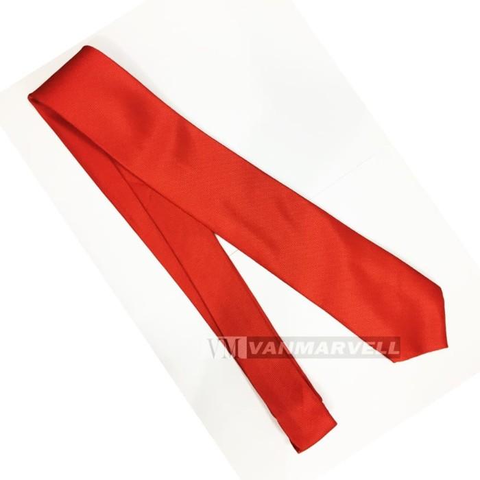 VM Dasi Merah polos bintik - Dasi Slim Merah - Dasi Kerja - Dasi Pesta