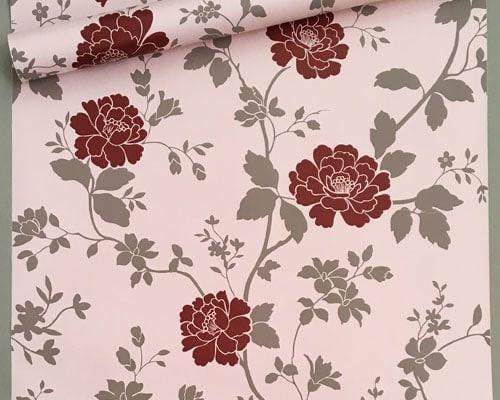Foto Produk Bunga rose merah 45 cm x 10 mtr || Wallpaper dinding dari dedengkot wallpaper